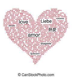 liefde, concept, woord, in, velen, talen, van, de wereld,...