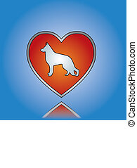 liefde, dog, concept, illustratie
