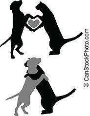 liefde, dog, kat