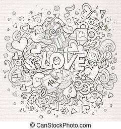 liefde, doodle, illustratie, hand, getrokken, spotprent