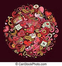 liefde, doodle, illustratie, spotprent, hand, getrokken