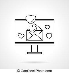 liefde, email, vlake lijn, vector, pictogram