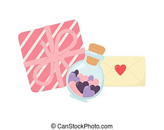 liefde, fles, hartjes, vrolijke , boodschap, glas, enveloppe, cadeau, dag, valentines