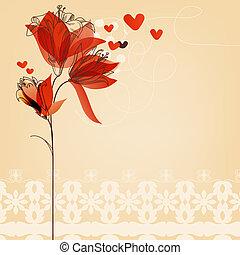 liefde, floral, achtergrond