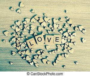 liefde, geschreven, hout, achtergrond, woord, blok