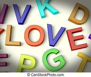 liefde, geschreven, in, veelkleurig, plastic, geitjes, brieven