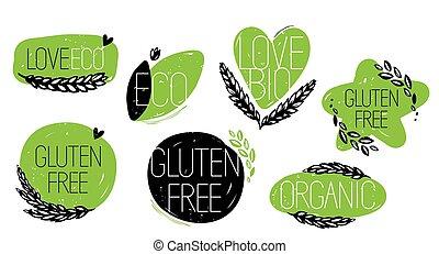 liefde, gluten, iconen, eco, organisch, bio, kosteloos