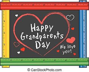 liefde, grootouders, dag, frame, meetlatje