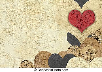 liefde, grunge, achtergrond, textured