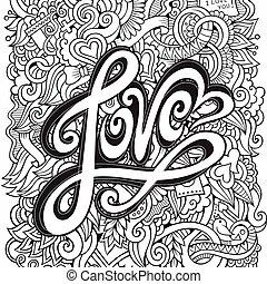 liefde, hand, lettering, en, doodles, communie, achtergrond
