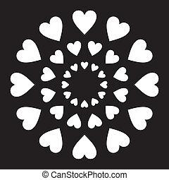 liefde harten, in een cirkel