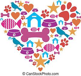 liefde, huisdieren, verzameling, pictogram