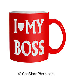 liefde, humor, kantoor, -, vrijstaand, baas, mok, mijn