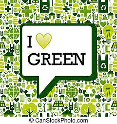 liefde, iconen, op, textuur, groene achtergrond, boodschap