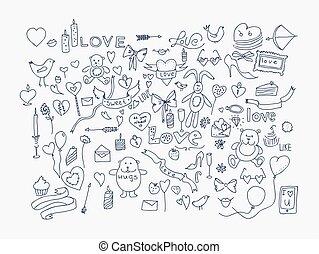 liefde, illustration., iconen, doodle, hand, vector, getrokken