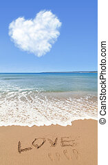 liefde, in, zomer, op, strand