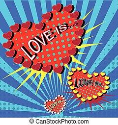 liefde, is, spotprent, ontploffing