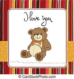 liefde, kaart, beer, teddy