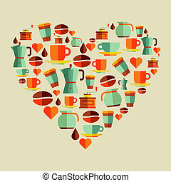 liefde, koffie bonen, illustratie
