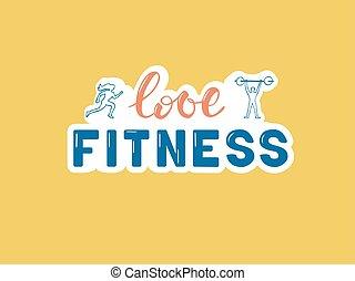 liefde, lettering, fitness