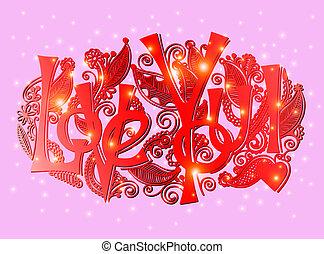 liefde, lettering, -, inscriptie, hand, u