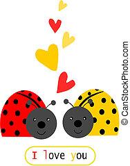 liefde, lieveheersbeestje, -, text., twee, illustratie