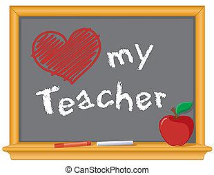 liefde, mijn, leraar, bord