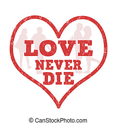 liefde, nooit, sterven, postzegel