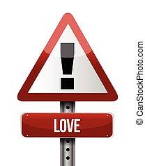 liefde, ontwerp, straat, illustratie, meldingsbord