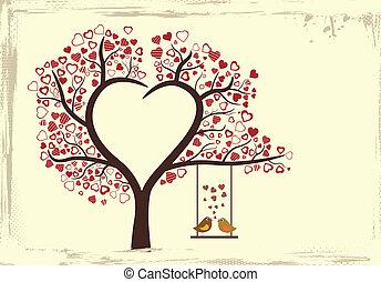 liefde, ouderwetse , vector, ontwerp, vogels, stijl