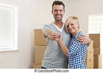 liefde, paar, klee, vrolijke , nieuw huis