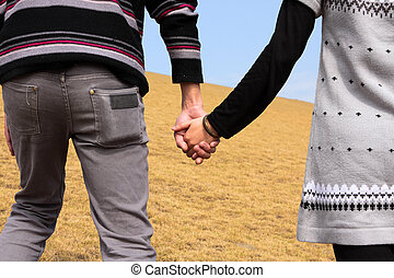 liefde, paar, landschap, hand-in-hand., herfst