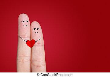 liefde, paar omhelzend, vrolijke , smiley, geverfde