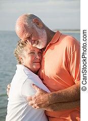 liefde, paar, -, tederheid, senior