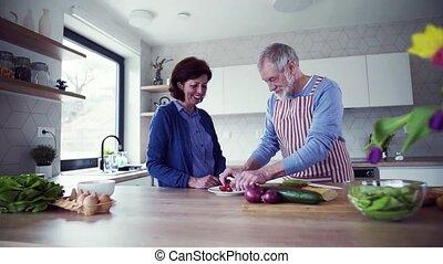liefde, paar, voedsel., binnen, het bereiden, verticaal,...