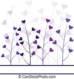 liefde, paarse , bos, gebladerte, hartjes