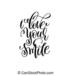 liefde, poster, typografisch, glimlachen, jouw, met de hand geschreven