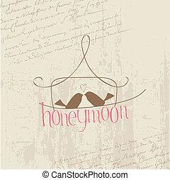 liefde, postkaart, ouderwetse , -, ontwerp, uitnodiging, plakboek, vogels, felicitatie