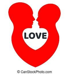 liefde, profile., menselijk, minimalistic, logo, rood