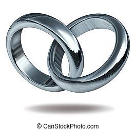 liefde, ringen, aangesluit, in, een, hart gedaante