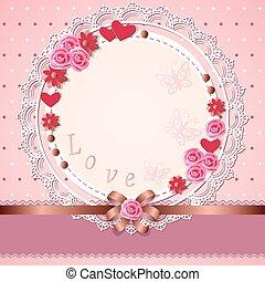 liefde, romantische, kaart