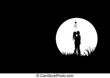 liefde, scène, nacht