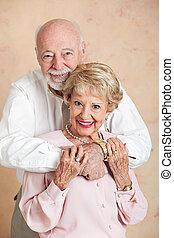 liefde, schattige, paar, senior