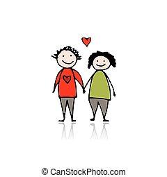 liefde, schets, ontwerp, paar, jouw