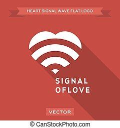 liefde, signaal, illustratie, vector, logo, pictogram