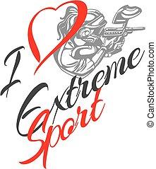 liefde, sport., paintball, -, extreem, speler, vector, ...