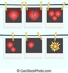 liefde, spotprent, explosion., tred, love., liefde,...