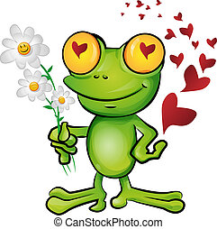 liefde, spotprent, kikker