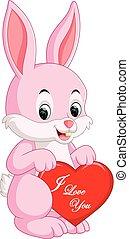 liefde, spotprent, konijn
