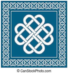 liefde, symbool, knoop, illustratie, keltisch, vector, fortuin, goed